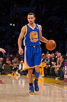 09 November 2012: Guard (30) Stephen Curry of the Golden State Warriors in game action against the Los Angeles Lakers during the first half of the Lakers 101-77 victory over the Warriors at the STAPLES Center in Los Angeles, CA.