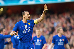 LONDON, ENGLAND - Tuesday, May 5, 2009: Manchester United's Rio Ferdinand celebrates after his team's second goal against Arsenal during the UEFA Champions League Semi-Final 2nd Leg match at the Emirates Stadium. (Photo by Carlo Baroncini/Propaganda)