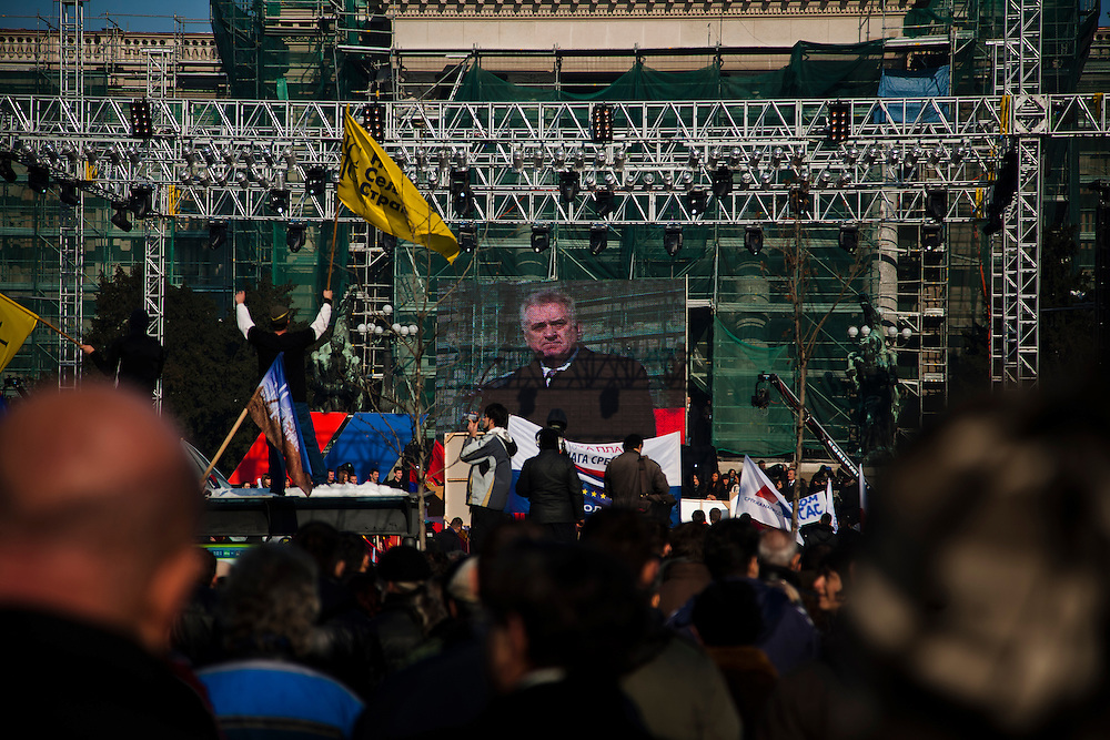Tomislav Nikolic and the Serbian Progressive Party (SNS) stage an opposition rally in Belgrade on February 5, 2011. Pionirski Park in front of Parliament and the streets of central Belgrade. Nikolic addressing the crowd in the final speech.