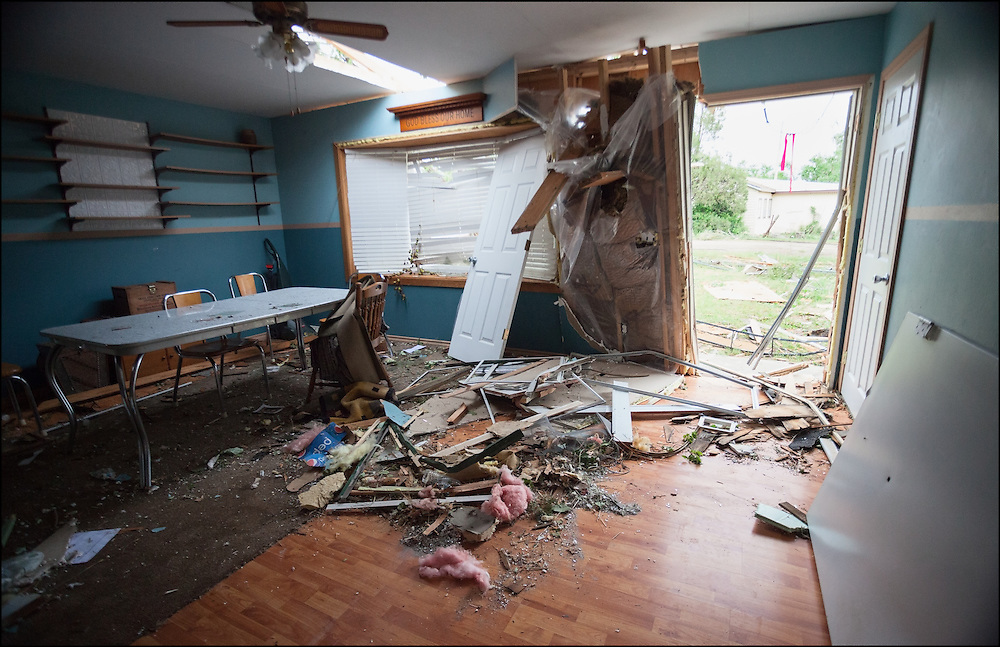 The inside of a house that was hit by an EF-3 tornado in Baker, Montana.