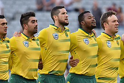 February 17, 2017 - Auckland, New Zealand - South Africa anthem during international Twenty20 cricket match between South Africa and New Zealand in Auckland, New Zealand on Feb 17. (Credit Image: © Shirley Kwok/Pacific Press via ZUMA Wire)