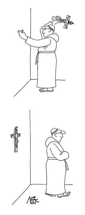 (A monk uses a crucifix to hammer a nail on the wall, then hangs the crucifix on the wall)