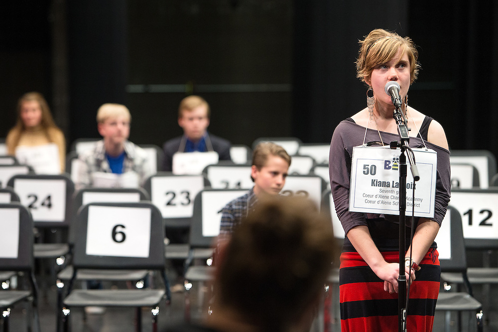 GABE GREEN/Press<br /> <br /> Champion of the ninth annual North Idaho Regional Spelling Bee, Kiana Lacroix, a seventh-grader from Coeur d&rsquo;Alene Charter Academy, briefly pauses while spelling a word saturday.