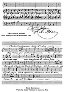 Thomas Augustine Arne (1710-1778). Top: A version of the British National Anthem in Arne's hand.  Bottom: 'Rule Britannia', a patriotic song composed by Arne to words by the Scottish poet James Thomson.