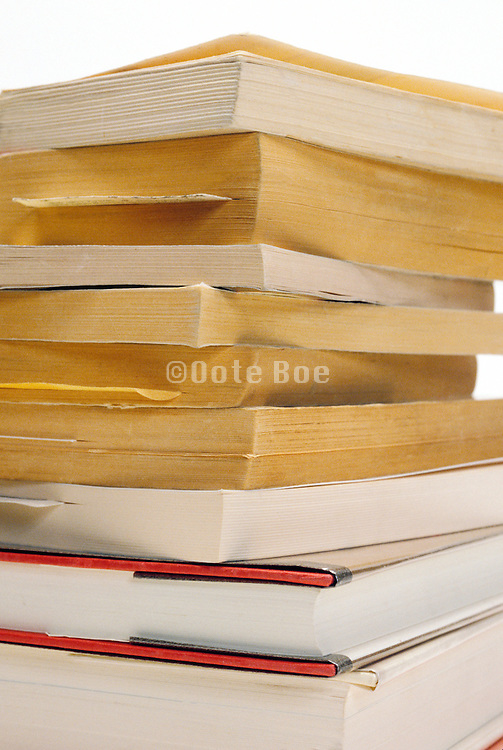 Close up of a stack of books