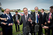 Nigel Farage resigns on the lawn of the Botany Bay Hotel, Kingsgate, Broadstairs, kent, 8th May 2015.