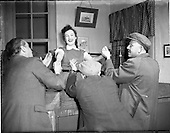 """1955 - Scenes from the play """"The Glorious Uncertainty"""" performed by The Abbey Theatre. [727]"""