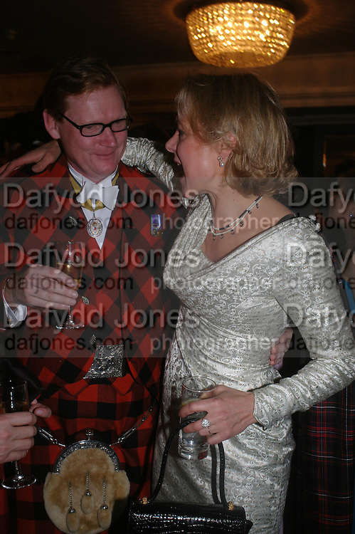 Sir Malcolm Macgregor of Macgregor and Daisy Drummond.  The  Royal Caledonian Ball in aid of The Royal Caledonian Ball Trust held at The Grosvenor House Hotel, Park Lane, London W1.  28  April 2005. ONE TIME USE ONLY - DO NOT ARCHIVE  © Copyright Photograph by Dafydd Jones 66 Stockwell Park Rd. London SW9 0DA Tel 020 7733 0108 www.dafjones.com
