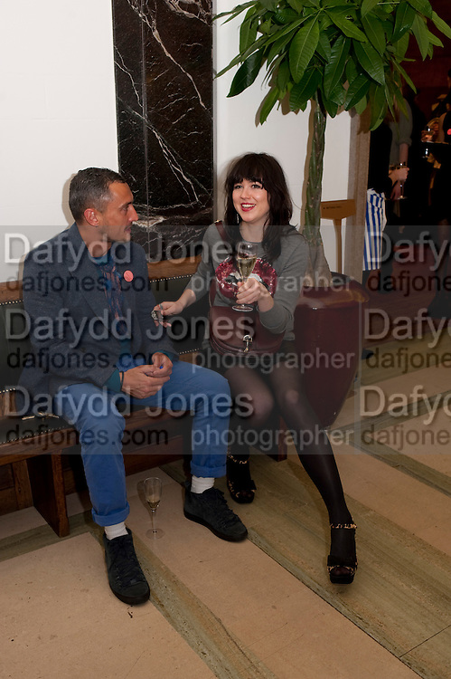 RICHARD NICHOLL; ALANNAH SPARKS ,  Art Against Knives charity auction , Town Hall Hotel in Bethnal Green, London. 15 December 2011
