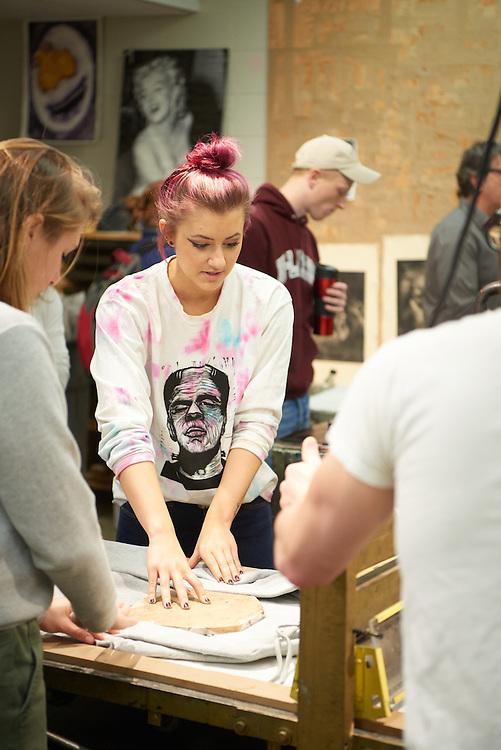 Activity; Art; Buildings; Center for the Arts CFA; Location; Classroom; People; Student Students; Woman Women; Man Men; Spring; March; Type of Photography; Candid; UWL UW-L UW-La Crosse University of Wisconsin-La Crosse; Printmaking; Inside; Printmaking Joel Elgin