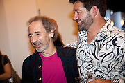 Harry Shearer with Tab Benoit at the Gulf Aid Benefit Concert at Blaine Kern's Mardi Gras World