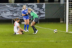 NORMAL, IL - October 17:  Shaina Dudas during an NCAA Missouri Valley Conference (MVC)  women's soccer match between the Indiana State Sycamores and the Illinois State Redbirds October 17 2018 on Adelaide Street Field in Normal IL (Photo by Alan Look)