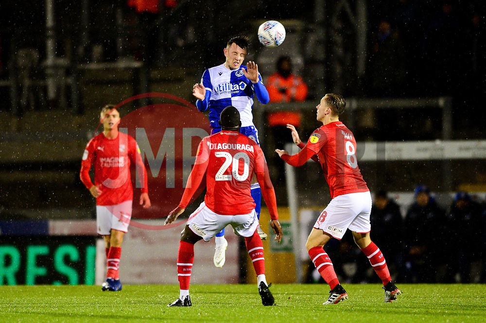 Ollie Clarke of Bristol Rovers heads the ball  - Mandatory by-line: Dougie Allward/JMP - 13/11/2019 - FOOTBALL - Memorial Stadium - Bristol, England - Bristol Rovers v Swindon Town - Leasing.com Trophy