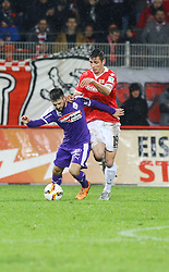 30.01.2016, Stadion An der Alten Foersterei, Berlin, GER, 1. FC Union Berlin vs SV Austria Salzburg, Testspiel, im Bild Zweikampf zwischen Rene Zia (#6, SV Austria Salzburg) und Damir Kreilach (#19, 1. FC Union Berlin) // during a preperation Football Match between 1. FC Union Berlin vs SV Austria Salzburg at the Stadion An der Alten Foersterei in Berlin, Germany on 2016/01/30. EXPA Pictures © 2016, PhotoCredit: EXPA/ Eibner-Pressefoto/ Hundt<br /> <br /> *****ATTENTION - OUT of GER*****
