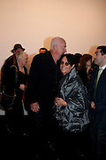 MERA RUBELL; DON RUBELL, 'Engagement' exhibition of work by Jennifer Rubell. Stephen Friedman Gallery. London. 7 February 2011. -DO NOT ARCHIVE-© Copyright Photograph by Dafydd Jones. 248 Clapham Rd. London SW9 0PZ. Tel 0207 820 0771. www.dafjones.com.