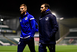 Alfie Kilgour of Bristol Rovers and Edward Upson of Bristol Rovers arrives at Home Park prior to kick off - Mandatory by-line: Ryan Hiscott/JMP - 17/12/2019 - FOOTBALL - Home Park - Plymouth, England - Plymouth Argyle v Bristol Rovers - Emirates FA Cup second round replay