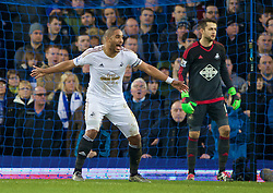 LIVERPOOL, ENGLAND - Sunday, January 24, 2016: Swansea City's captain Ashley Williams in action against Everton during the Premier League match at Goodison Park. (Pic by David Rawcliffe/Propaganda)