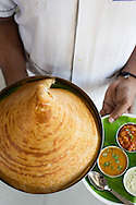 dosa, thin pancakes made of fermented rice flour and served with chutney, sambar and dahl, Tamil Nadu, India