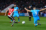 Randell Williams (11) of Exeter City shoots at goal during the EFL Sky Bet League 2 match between Exeter City and Cheltenham Town at St James' Park, Exeter, England on 16 November 2019.