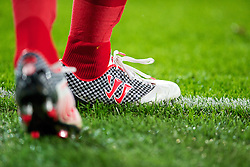 CARDIFF, WALES - Friday, October 11, 2013: The Warrior football boots of Wales' Craig Bellamy during the 2014 FIFA World Cup Brazil Qualifying Group A match against Macedonia at the Cardiff City Stadium. (Pic by David Rawcliffe/Propaganda)
