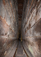 Shaft leading up to the King's Chamber in the Great Pyramid, Giza, Egypt.