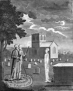 Edward Kelly (Kelley) left (active 1575) English astrologer and alchemist with his assistant raising spirit in churchyard. Copperplate engraving c1790.