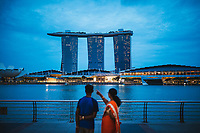 A view over the water with Marina Bay Sands, one of Singapore's most famous modern landmarks.