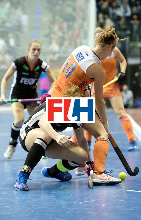 BERLIN - Indoor Hockey World Cup<br /> Final: Netherlands - Germany<br /> foto: Janne M&uuml;ller and Marijn Veen <br /> WORLDSPORTPICS COPYRIGHT FRANK UIJLENBROEK