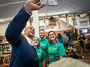 26 JULY 2019 - GREENFIELD, IOWA: US Senator CORY BOOKER (D-NJ) takes a selfie with voters during a campaign stop in Greenfield. Sen. Booker is running to be the Democratic nominee for the US Presidency. Iowa traditionally hosts the the first selection event of the presidential election cycle. The Iowa Caucuses will be on Feb. 3, 2020.                         PHOTO BY JACK KURTZ