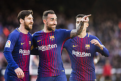 March 18, 2018 - Barcelona, Spain - BARCELONA, SPAIN - MARCH 18: 17 Paco Alcazer from Spain of FC Barcelona celebrating his goal with the team during La Liga match between FC Barcelona v Atletic de Bilbao at Camp Nou Stadium in Barcelona on 18 of March, 2018. (Credit Image: © Xavier Bonilla/NurPhoto via ZUMA Press)