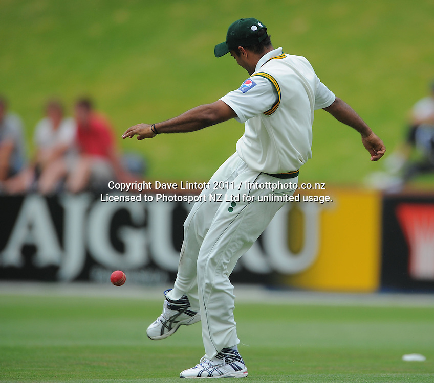 Pakistan's Tanvir Ahmed celebrates catching Brendan McCullum. 2nd cricket test match - New Zealand Black Caps v Pakistan, day four at the Basin Reserve, Wellington, New Zealand on Tuesday, 18 January 2011. Photo: Dave Lintott / photosport.co.nz