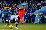 Jermaine Easter of Millwall shoots on goal during the Sky Bet Championship match at The Den, London<br /> Picture by David Horn/Focus Images Ltd +44 7545 970036<br /> 15/02/2014