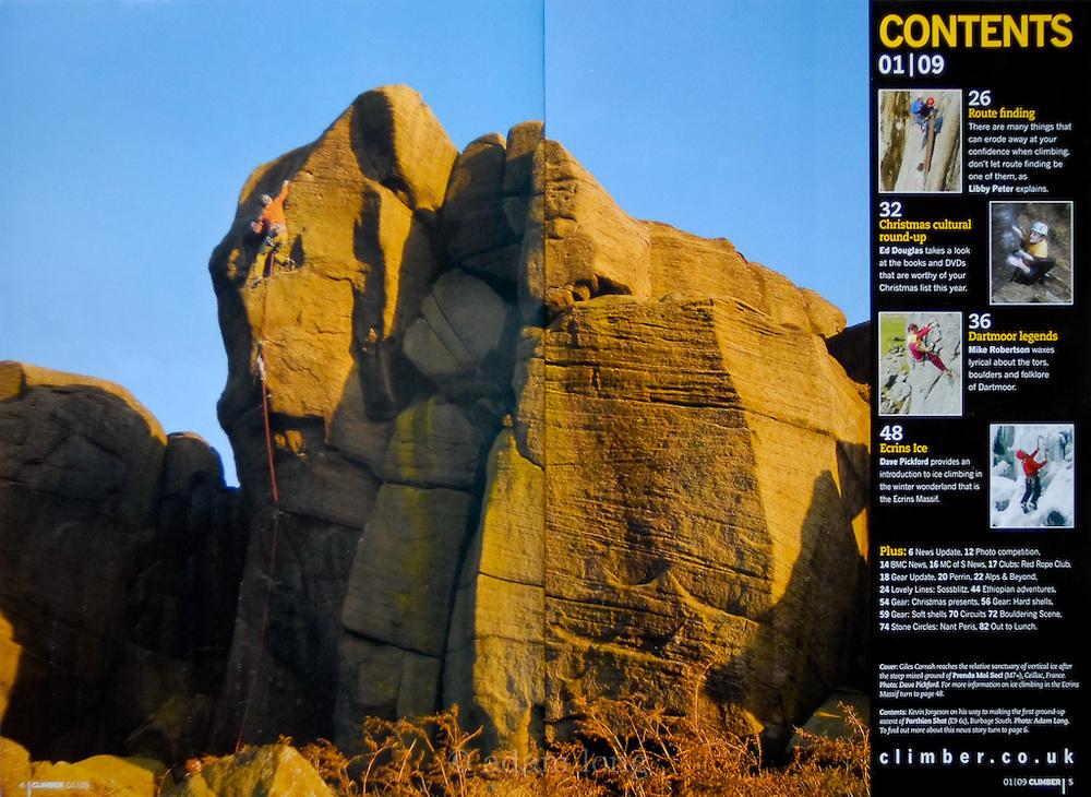 Contents spread, Climber Magazine
