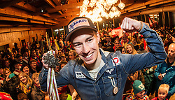 02.04.2015, Festsaal, Schwarzach, AUT, Empfang Stefan Kraft, im Bild Stefan Kraft (AUT) mit seinen Medaillen von Falun 2015 // during the Welcome Home Party of Austria Skijumper Stefan Kraft at the Ballroom, Schwarzach, Austria on 2015/04/02. EXPA Pictures © 2015, PhotoCredit: EXPA/ JFK
