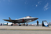 The RAAF's new and controversial jet fighter.   Built in the USA by Lockheed Martin and the subject of cost over-runs and doubts over its stealth capabilities.   Probably the most technologically advanced (and loudest) military aircraft in the world.   Here seen on static display at the Australian International Airshow 2017.  Not surprisingly, it was the subject of watchful security.