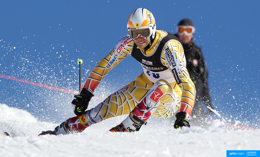 Jean Philippe Roy, Canada, in action during the Men's Giant Slalom competition at Coronet Peak, New Zealand during the Winter Games. Queenstown, New Zealand, 22nd August 2011. Photo Tim Clayton