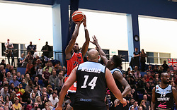 Fred Thomas of Bristol Flyers shoots - Photo mandatory by-line: Arron Gent/JMP - 28/04/2019 - BASKETBALL - Surrey Sports Park - Guildford, England - Surrey Scorchers v Bristol Flyers - British Basketball League Championship