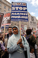 Protest demonstration in central London against occupation of Iraq October 2005 and against discrimination against Muslims.