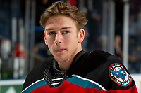 KELOWNA, BC - NOVEMBER 20: Cole Schwebius #31 of the Kelowna Rockets stands on the ice after the win against the Victoria Royals  at Prospera Place on November 20, 2019 in Kelowna, Canada. (Photo by Marissa Baecker/Shoot the Breeze)