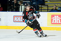 KELOWNA, CANADA, NOVEMBER 25: Colton Heffley #25 of the Kelowna Rockets skates on the ice as the Kootenay Ice visit the Kelowna Rockets  on November 25, 2011 at Prospera Place in Kelowna, British Columbia, Canada (Photo by Marissa Baecker/Shoot the Breeze) *** Local Caption *** Colton Heffley;