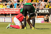 Coventry City goalkeeper Lee Burge consoles Coventry City defender Aaron Martin after his own goal during the Sky Bet League 1 match between Burton Albion and Coventry City at the Pirelli Stadium, Burton upon Trent, England on 6 September 2015. Photo by Simon Davies.