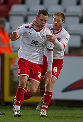 STEVENAGE, ENGLAND - Saturday, December 17, 2011: Stevenage's Chris Beardsley celebrates scoring the first goal against Tranmere Rovers during the Football League One match at Broadhall Way. (Pic by David Rawcliffe/Propaganda)