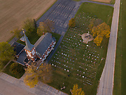 Aerial view of St. Francis-St. Mary Church in Brussels, Wis. (Sam Lucero | The Compass)