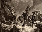A slip towards the edge. A close call for a member of the Alpine Club  in Switzerland. The men are climbing using ropes for safety. Illustration published London 1882.