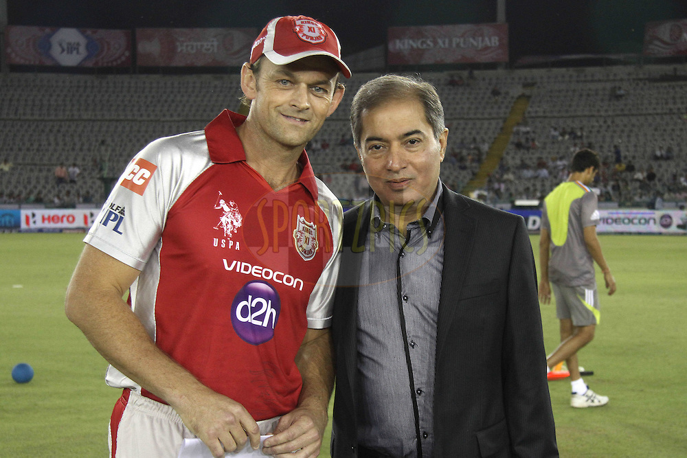 Kings XI Punjab captain Adam Gilchrist with competition Winner Mr CM Singh during match 14 of the the Indian Premier League ( IPL) 2012  between The Kings X1 Punjab and The Pune Warriors India held at the Punjab Cricket Association Stadium, Mohali on the 12th April 2012..Photo by Shaun Roy/IPL/SPORTZPICS
