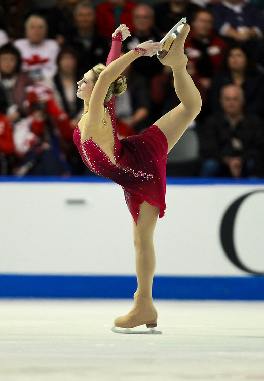 20101030 -- Kingston, Ontario -- Ksenia Makarova of Russia skates to a silver medal in the ladies competition at Skate Canada International in Kingston, Ontario, Canada, October 30, 2010. <br /> AFP PHOTO/Geoff Robins