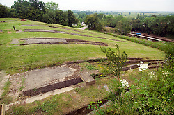 The remains of the Inclined Plane tracks at Foxton Locks on the Grand Union Canal, Market Harborough, Leicestershire, England, UK.
