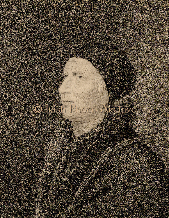 William Butts (d1545) English doctor.  Physician to Henry VIII of England. Stipple engraving after the portrait by Hans Holbein the Younger. British Medicine