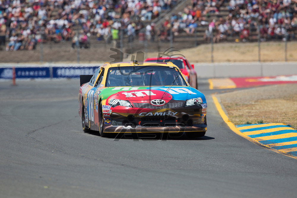 SONOMA, CA - JUN 24, 2012:  Kyle Busch (18) brings his car through the turns during the Toyota Save Mart 350 at the Raceway at Sonoma in Sonoma, CA.