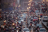 Rush hour traffic in Hanoi, Vietnam on Jan 11, 2013..(Photo by Kuni Takahashi)